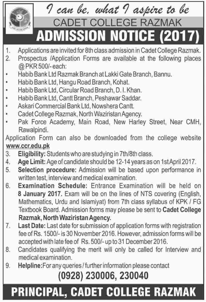Cadet College Razmak Admission 2017 Download Form, Last Date, Eligibiltiy