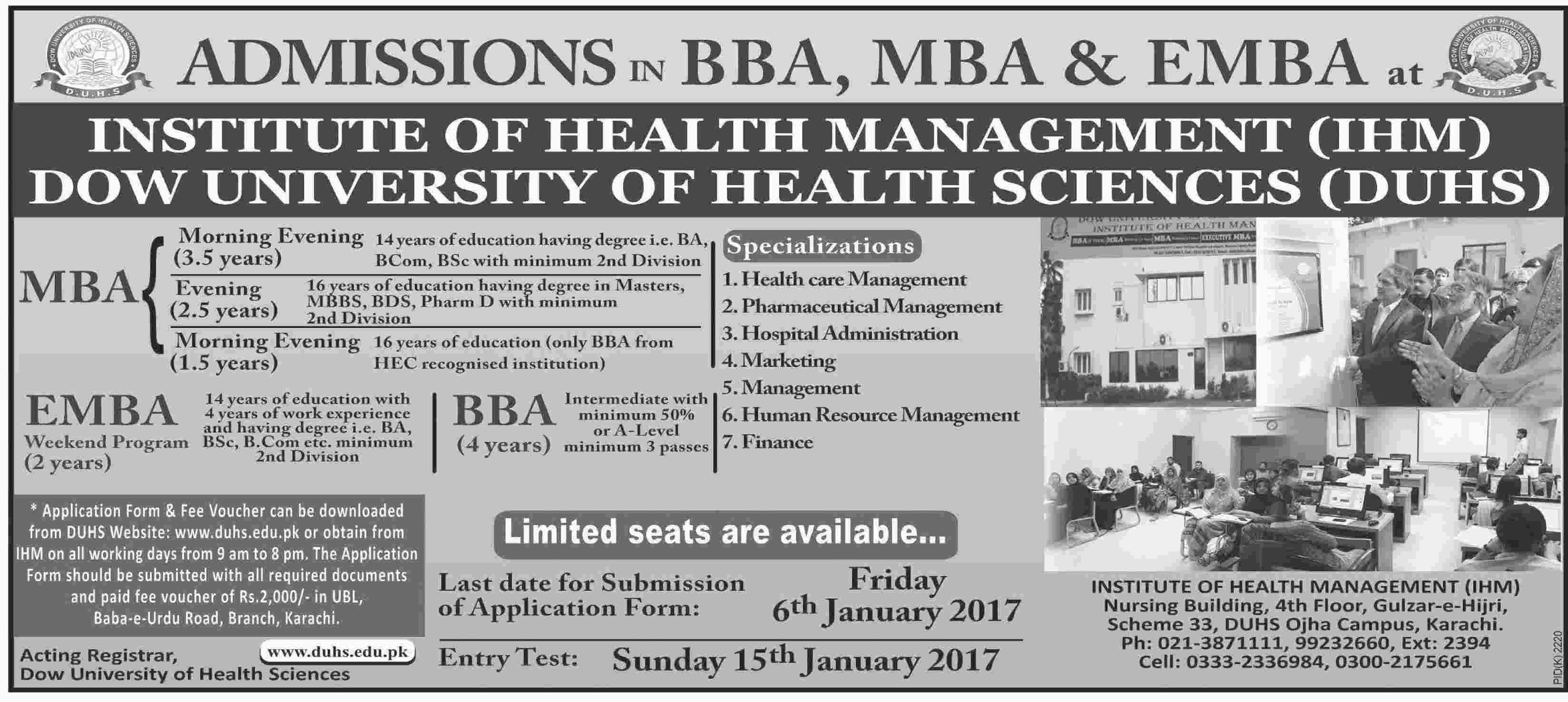 Dow University DUHS BBA, MBA, EMBA Admissions 2017 Form, Last Date
