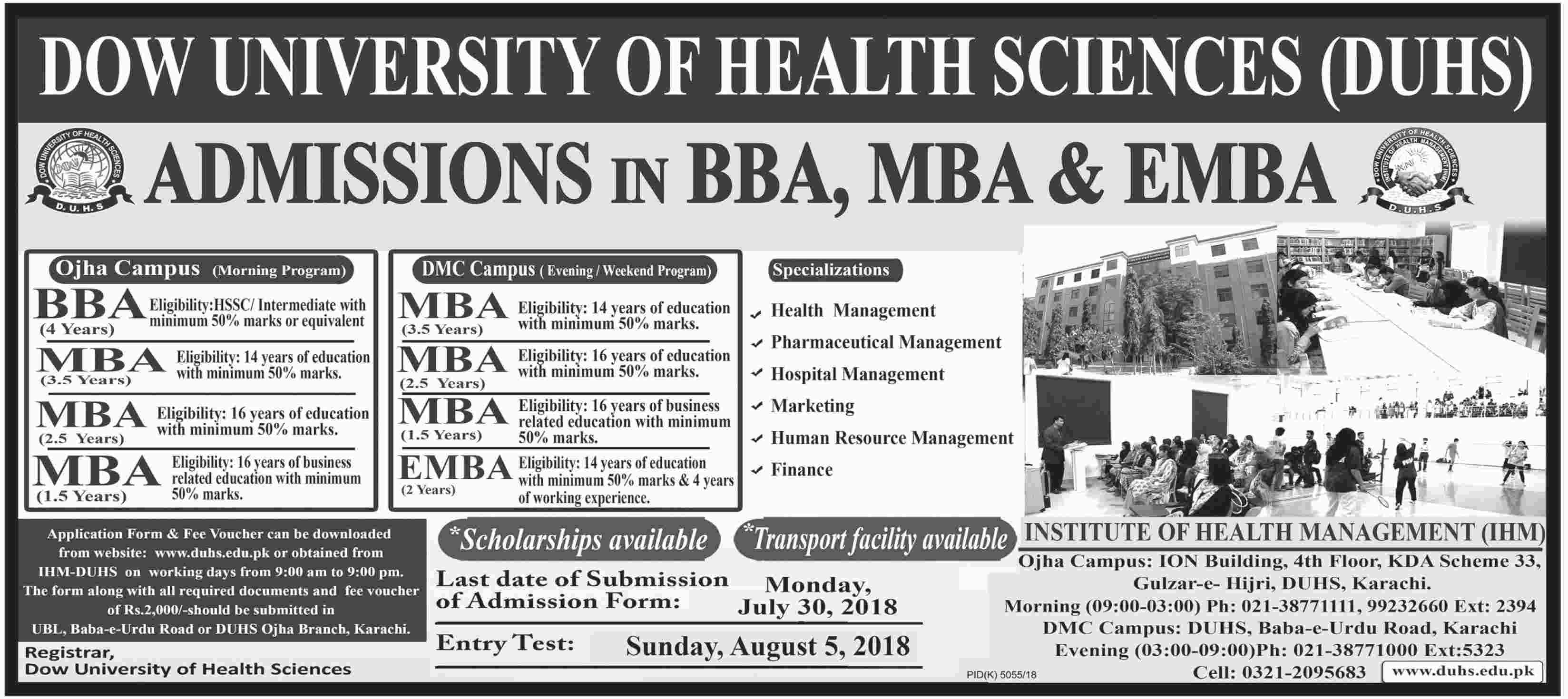 Dow University DUHS BBA, MBA, EMBA Admissions 2018 Form, Last Date