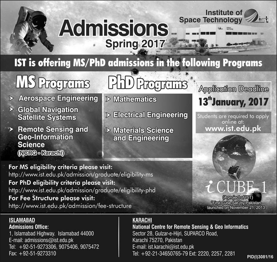 Institute Of Space Technology IST MS, PhD Admissions 2017 Form, Last Date
