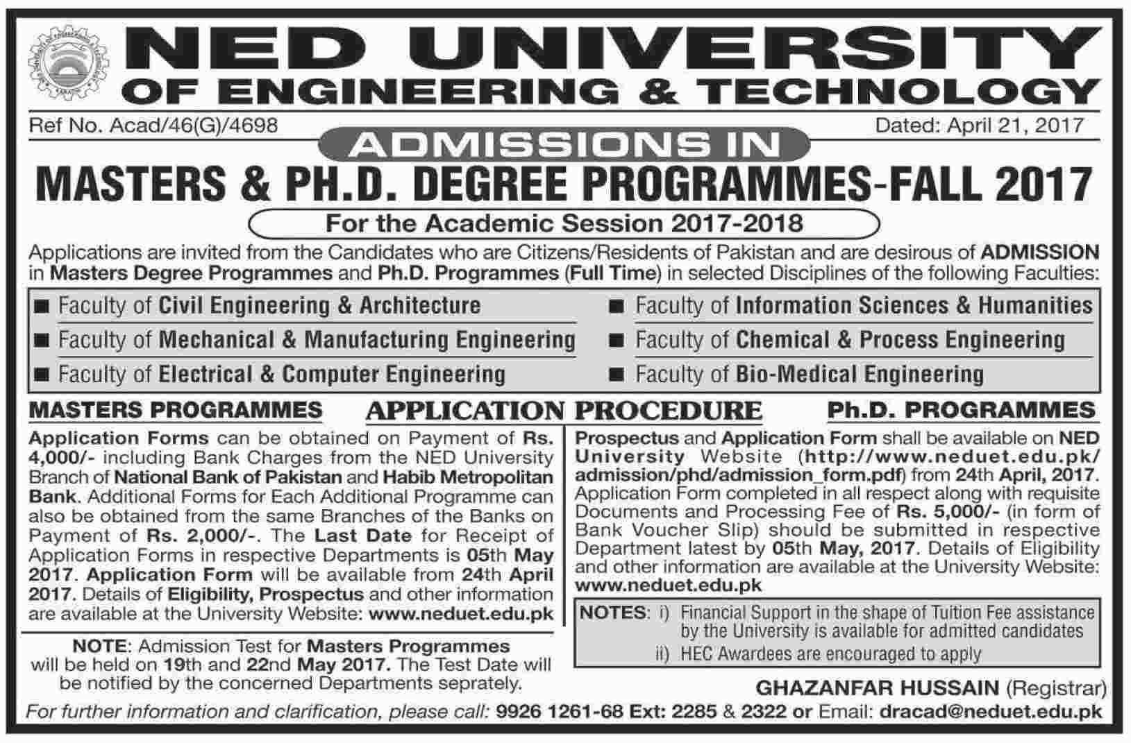 NED University of Engineering Karachi Masters Admission 2017 Form, Last Date