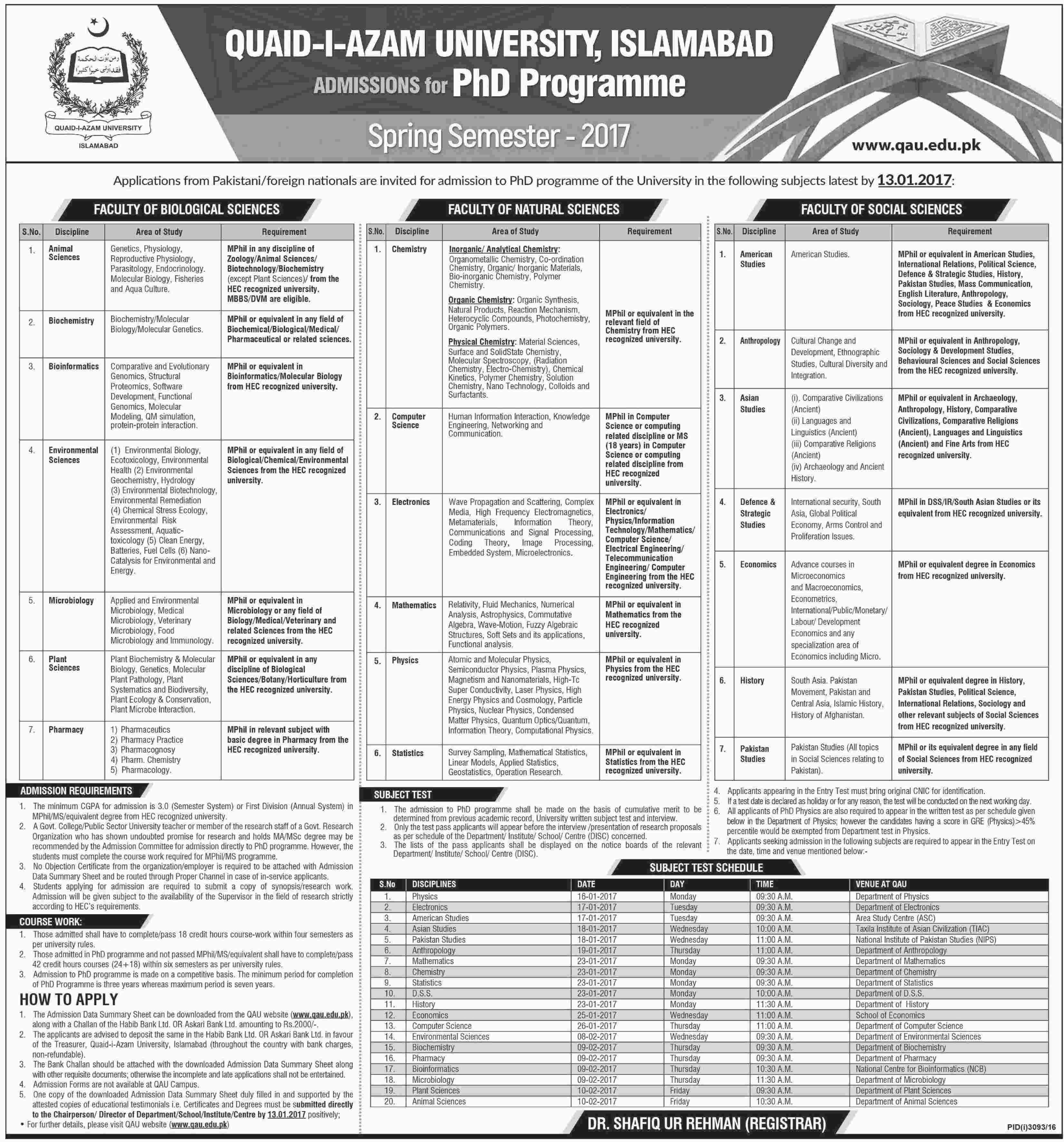Quaid-i-Azam University Islamabad MS/M.Phil, PhD Admissions 2017 Spring Form, Last Date, Entry Test Schedule