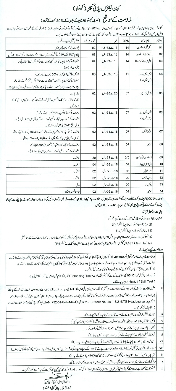 Quetta Electric Supply Company QESCO Jobs 2017 NTS Application Form, Eligibility, Last Date