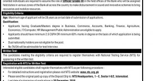 ZTBL Jobs 2016-17 In Zarai Taraqiati Bank Limited Officer Grade 3 NTS Application Form