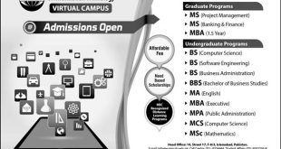COMSATS Virtual Campus Admissions Spring 2019 Apply Online