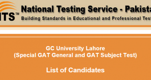 GC University Lahore GAT General, GAT Subject Test NTS Form 2018