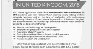 HEC Scholarships 2018 For PhD In UK Universities