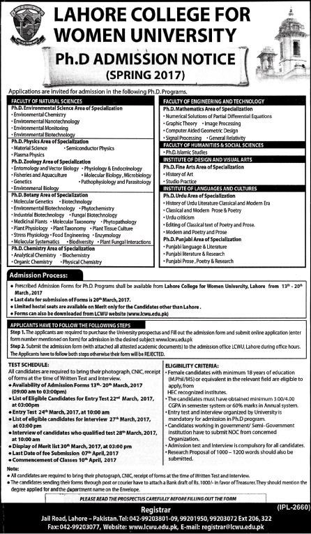 Lahore College For Women University PhD Admissions Spring 2017 Form