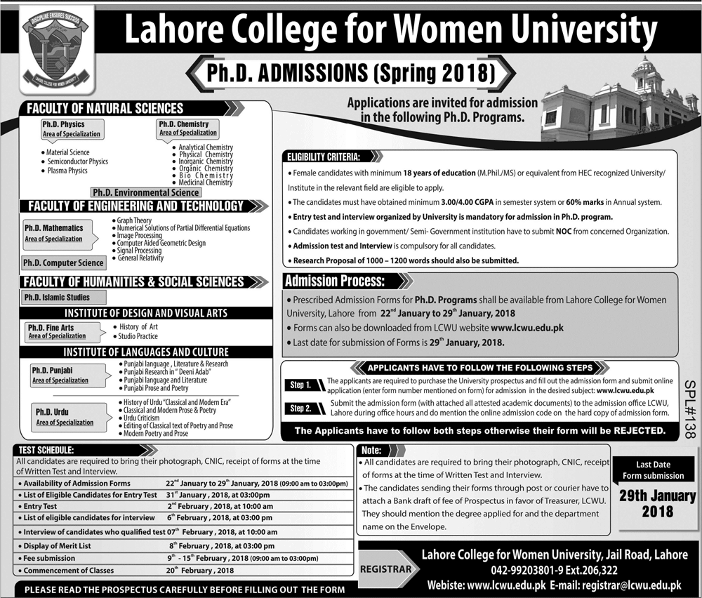 Lahore College For Women University PhD Admissions Spring 2018 Form