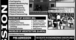 NED UET Karachi Bachelors Admissions 2018 Apply Online, Schedule