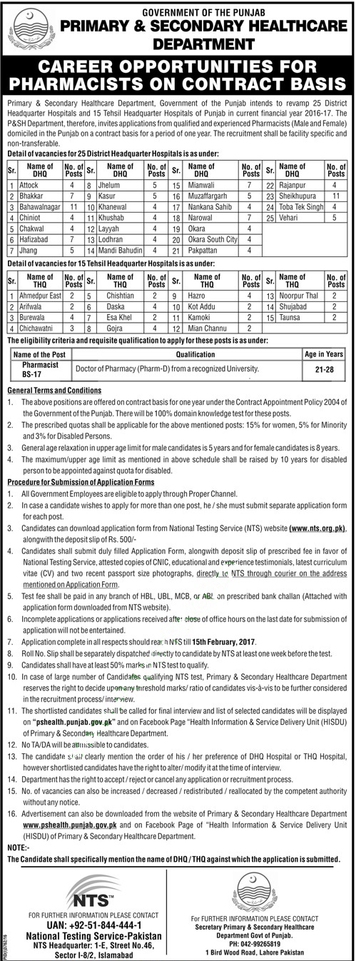 PS Healthcare Department Punjab Pharmacist Jobs 2017 NTS Form, Eligibility
