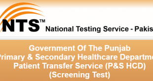 Primary And Secondary Healthcare Department NTS Test Result 2017 Answer Keys