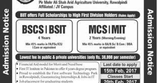 BIIT Spring Admissions 2017 Barani Institute Of Information Technology Form