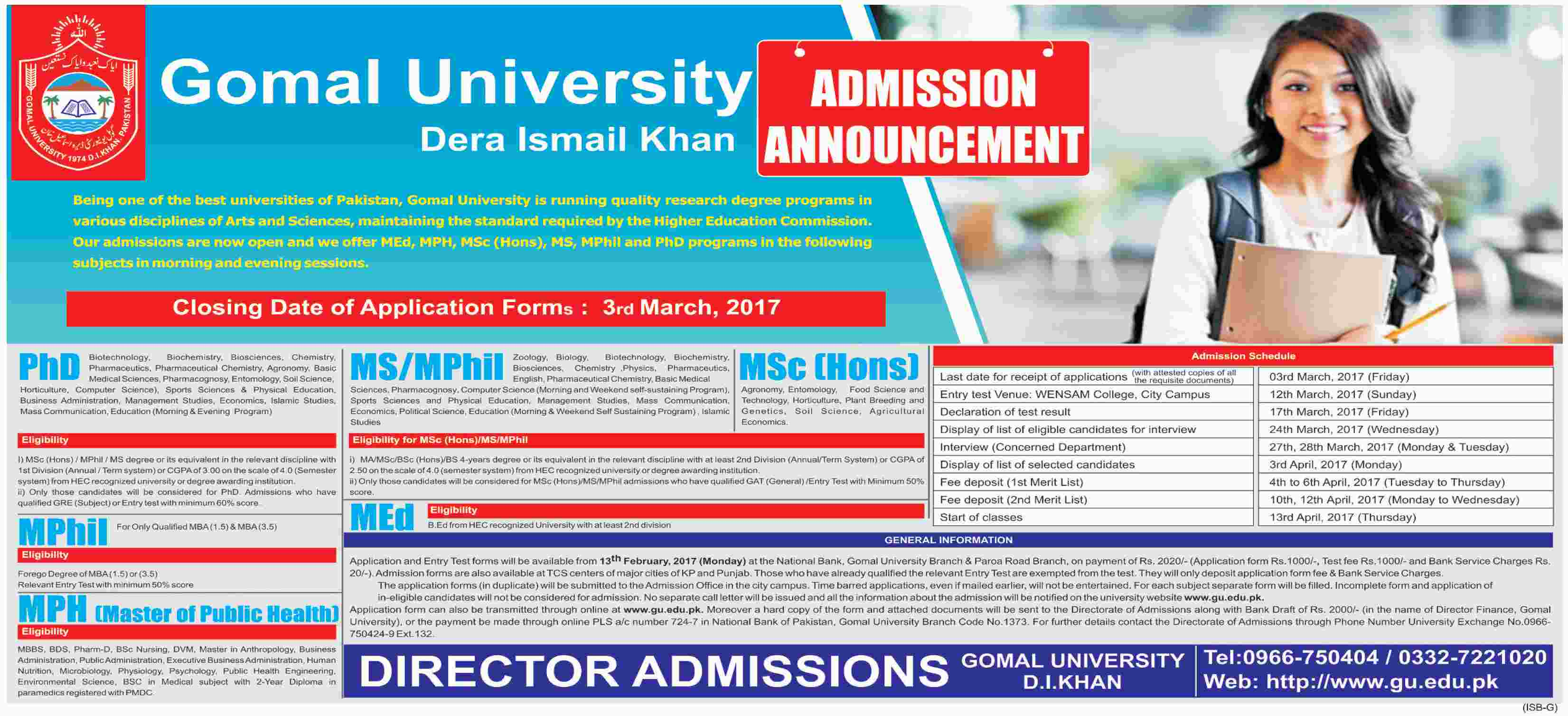 Gomal University DI khan Admission 2017 Form, Last Date