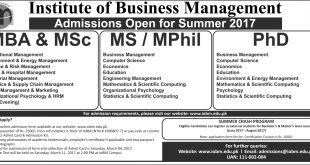 Institute Of Business Management IOBM Admission Spring 2017 Online Form, Test Date