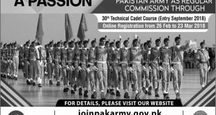 Join Pakistan Army Through 30th Technical Cadet Course 2018 Registration Online