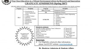 Kohat University KUST Admissions 2018 Ms,M.Phil, Phd, MBA Form, Date Schedule