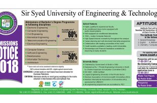 Sir Syed Engineering University Karachi SSUET Admissions 2018 Online Form Last Date