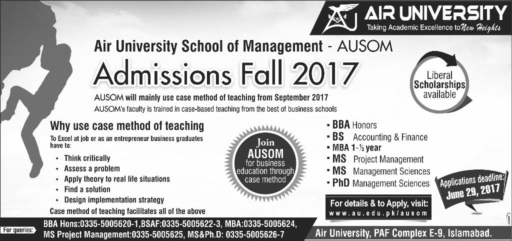 Air University Islamabad Admission Fall 2017 Apply Online, Last Date