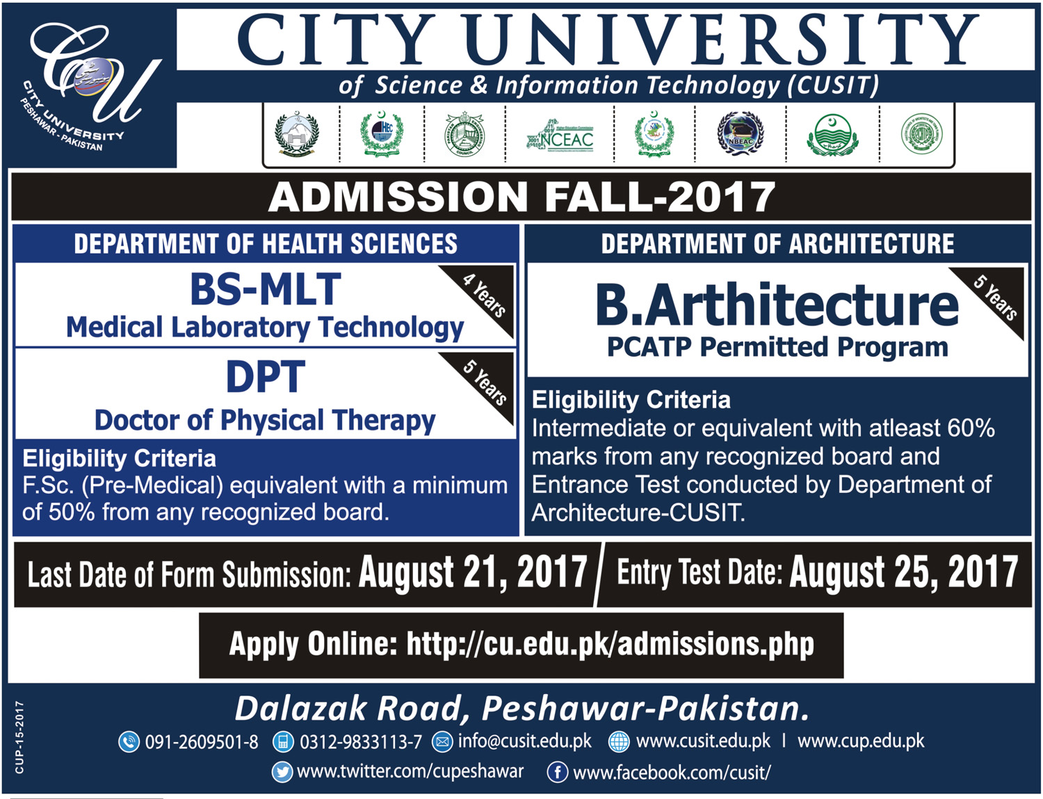 City University Peshawar CUSIT Admission 2017 BSc, Btech,BBA, MBA Form Date