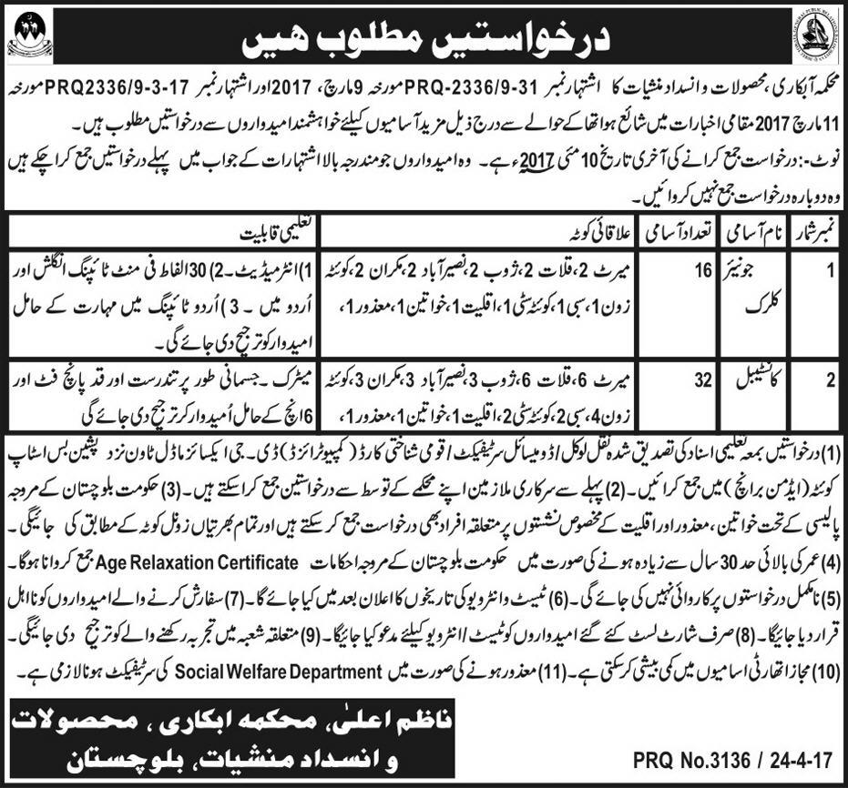 Excise Taxation and Anti Narcotics Balochistan Jobs 2017 Application Form, Last Date