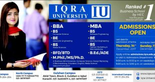 Iqra University Admissions 2018 Form Last Date, Entry Test Result