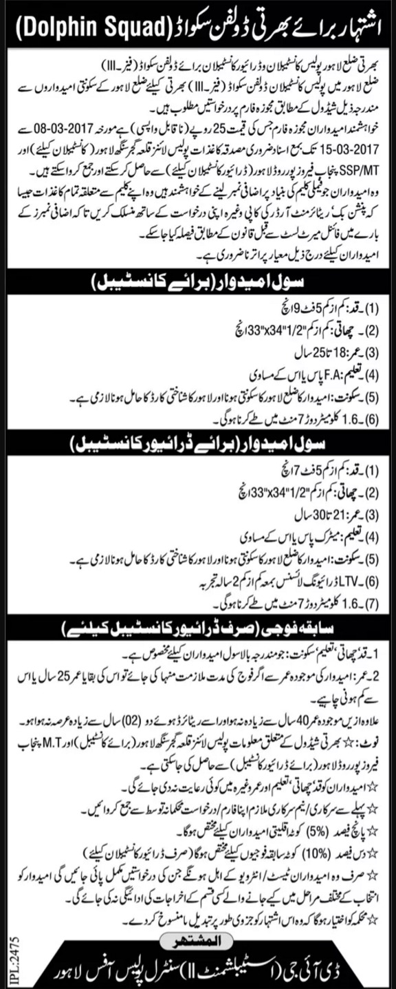 Punjab Police Dolphin Squad Phase 3 Jobs 2017 Driver Constable Form, Last Date
