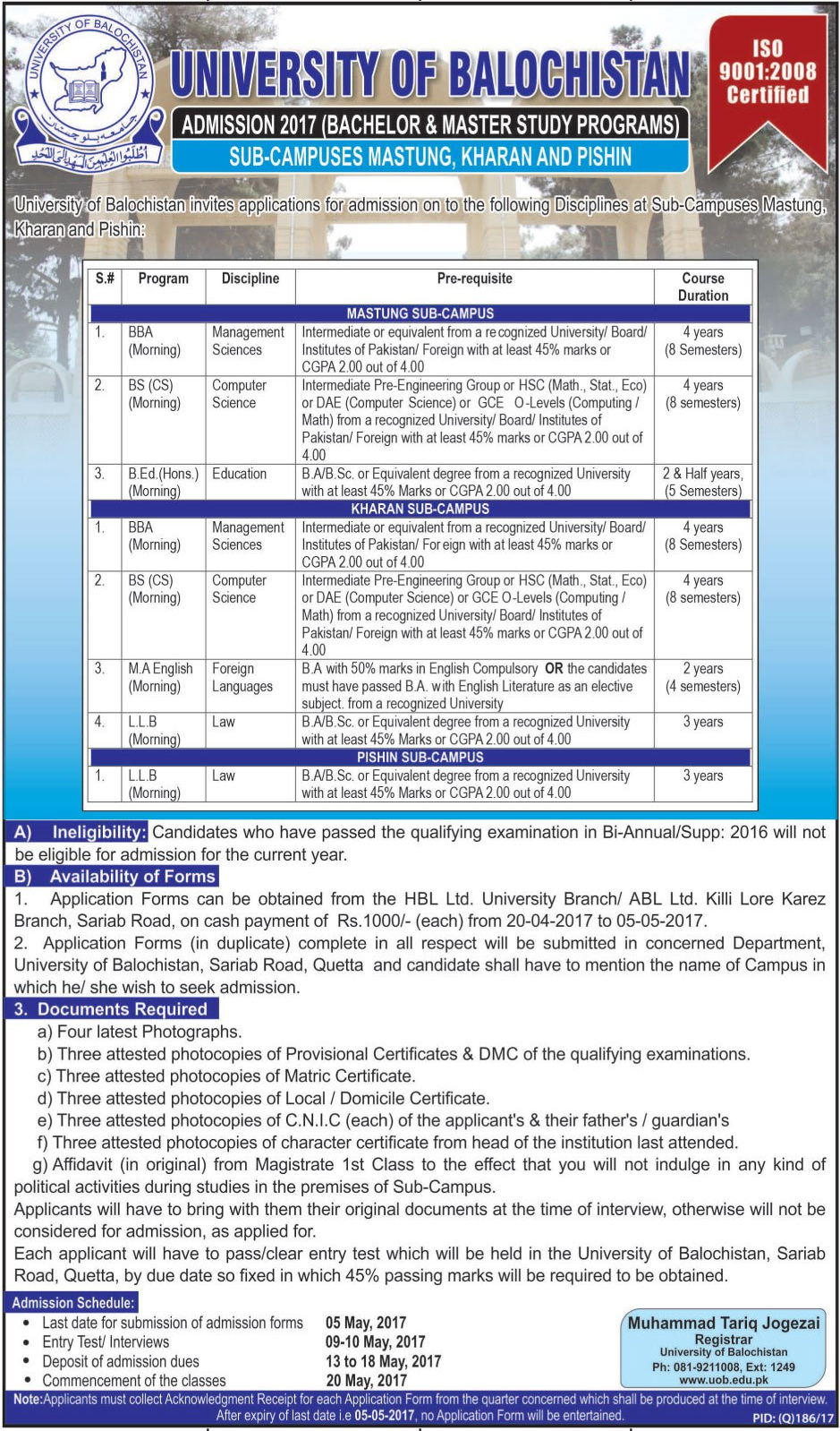 UOB Quetta Admissions 2018 University Of Balochistan Admission Form, Date Schedule