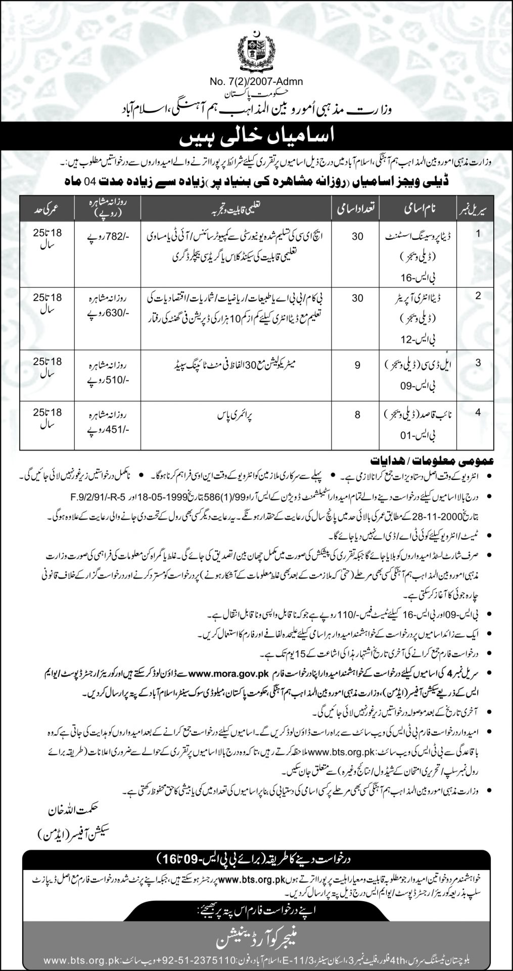 Jobs In Ministry Of Religious Affairs Pakistan 2017 Application Form, Last Date