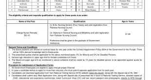 PS Health Punjab Nurses Jobs 2017 NTS Application Form, Test Date, Eligibility