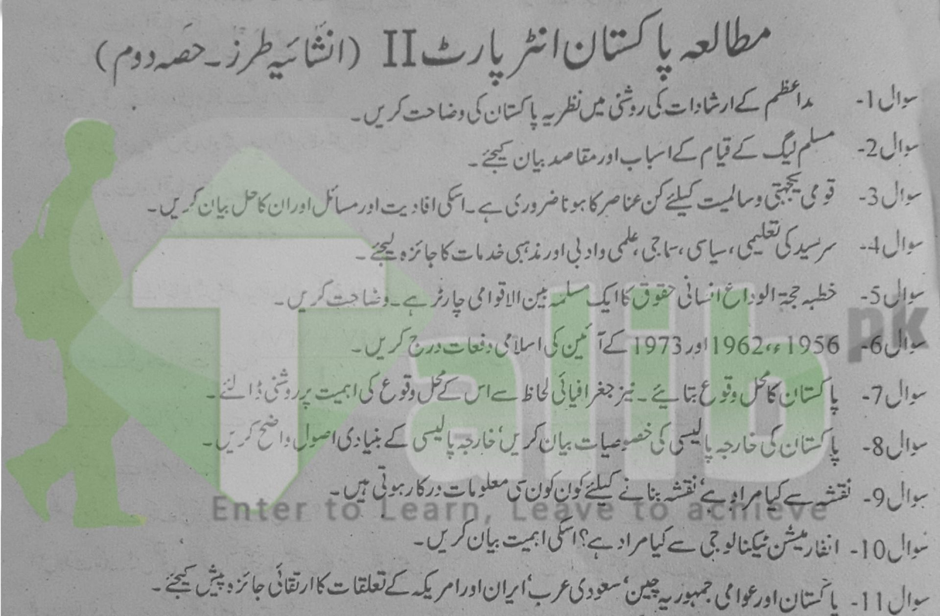 Pak Study Guess Paper 2nd Year 2017 Lahore Board Questions 12th Class