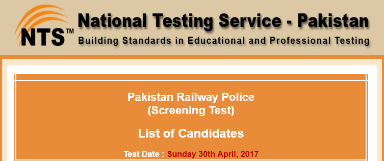 Pakistan Railway Police NTS Test Result 2017 For ASI And Constable Jobs