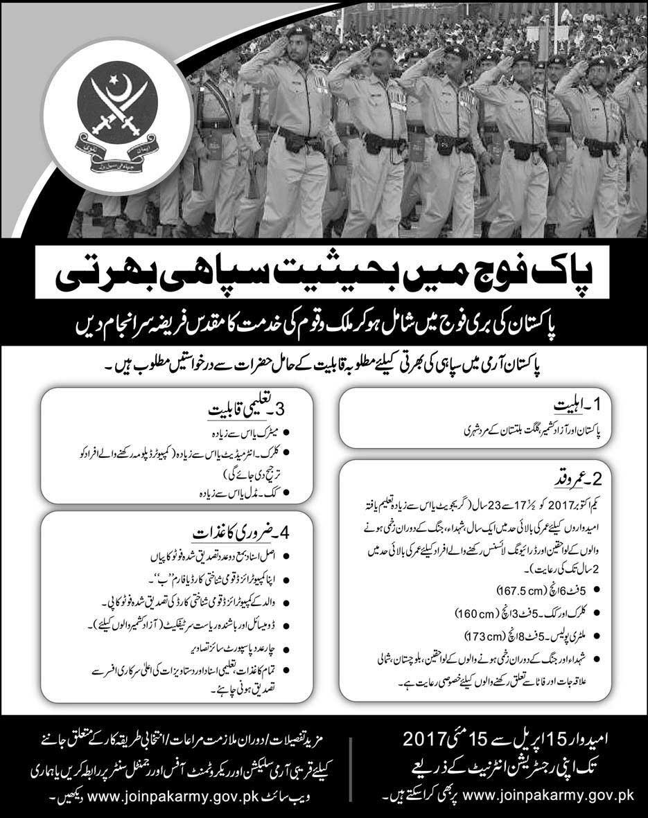 Jobs in pak army 2017 online registration form last date soldier jobs in pak army 2017 online registration form last date falaconquin