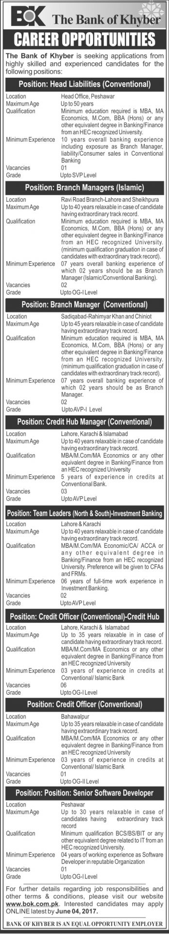 The Bank Of Khyber Jobs 2017 Apply Online Application Form Last Date