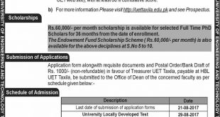 UET Taxila PhD Admission 2018 Fall Schedule, Application Form