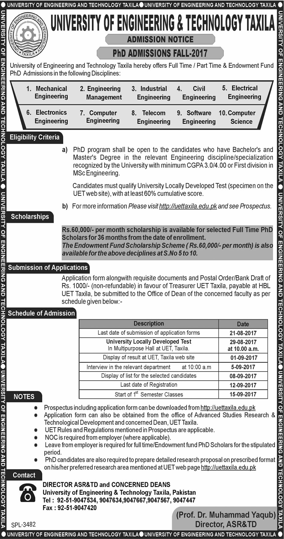 UET Taxila PhD Admission 2017 Fall Schedule, Application Form