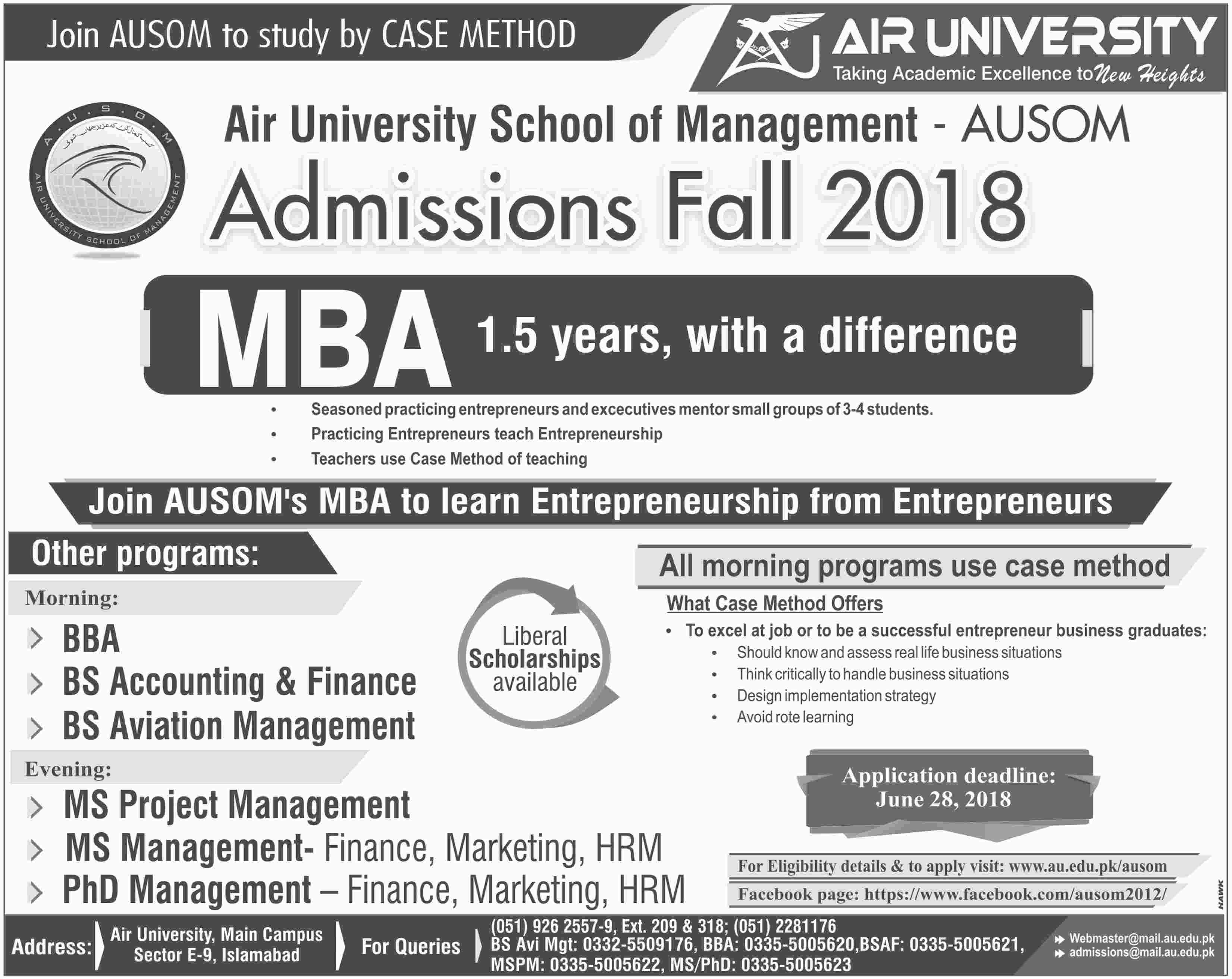 Air University Islamabad Admission 2018 BS, BBA, MS, MBA Entry Test