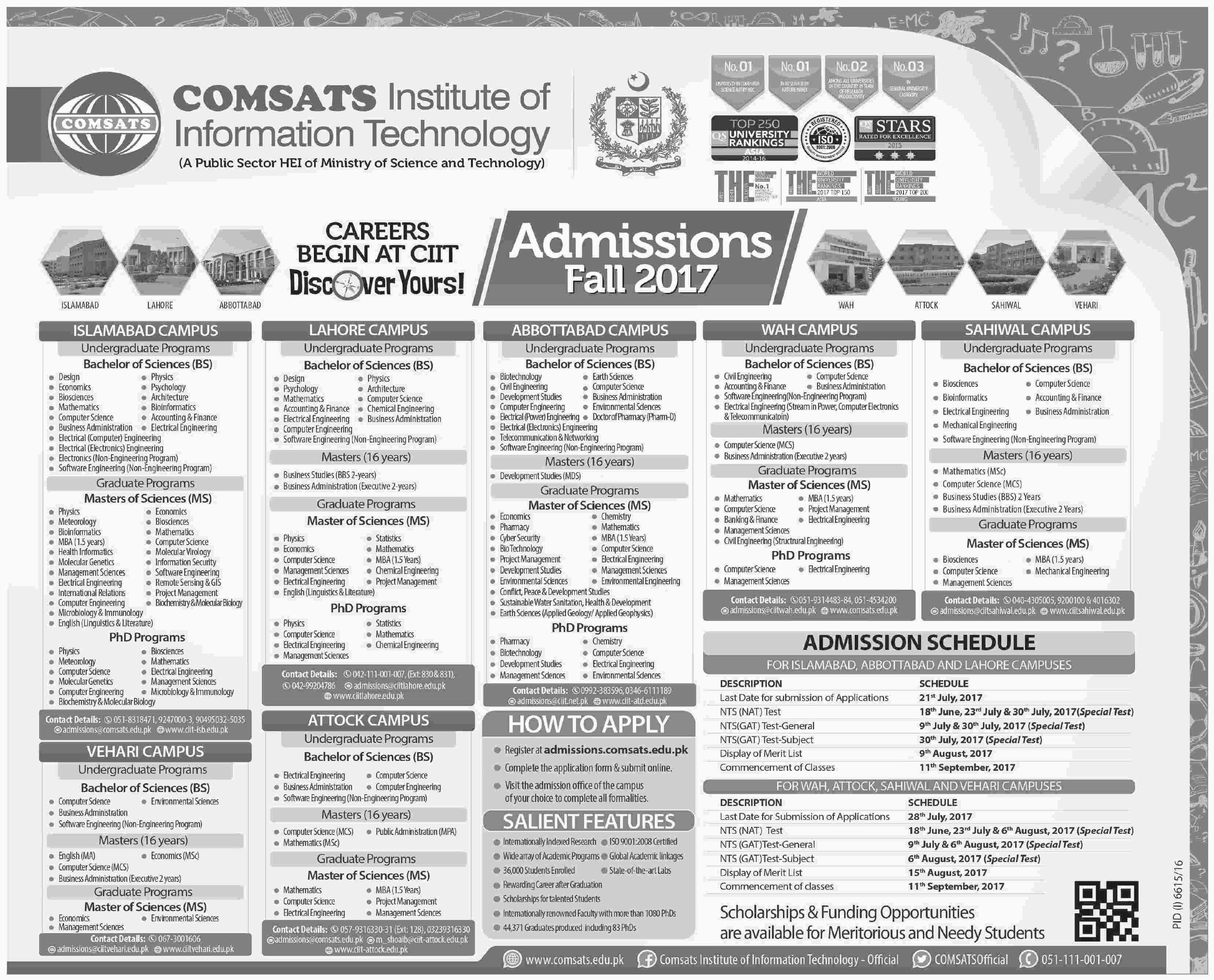 COMSATS Fall Admission 2017 Form Entry Test Schedule, Last Date