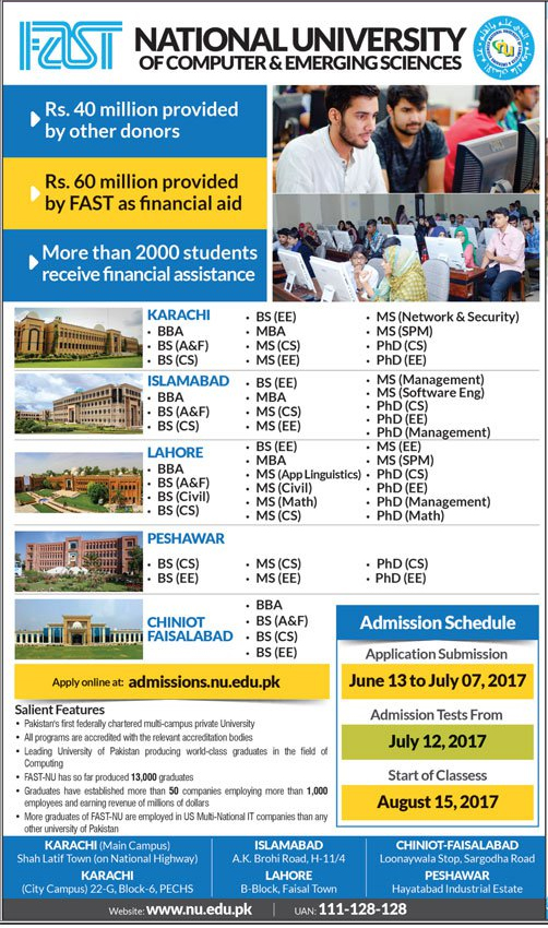 Fast National University Admissions 2017 Form, Test Date, Last Date