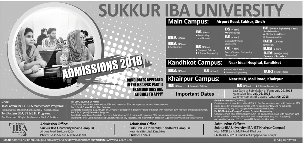 IBA Sukkur MBA Admission 2018 Form Schedule, Fee, Entry Test Date