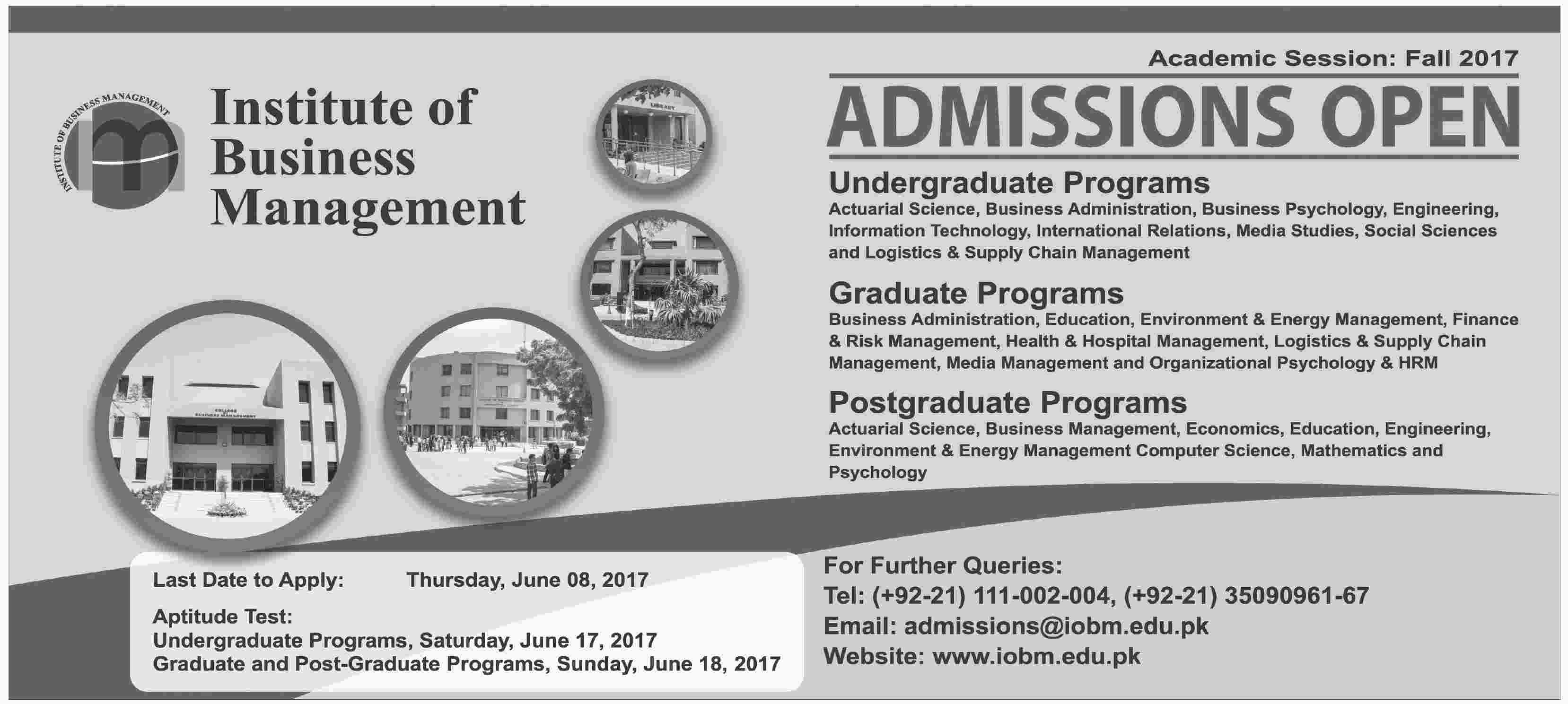 Institute Of Business Management IOBM Admissions Fall 2017 Form, Last Date