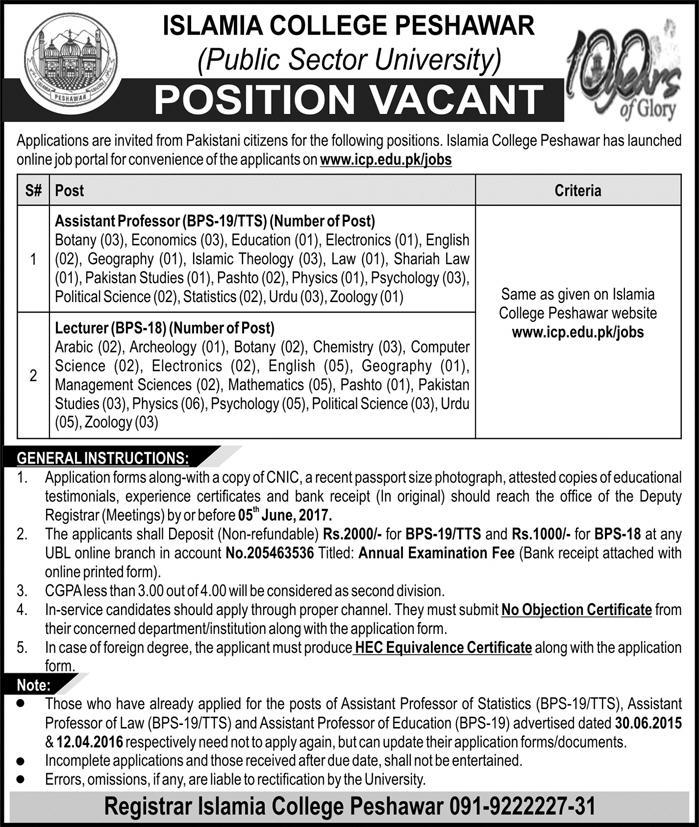 Islamia College Peshawar Jobs 2017 Assistant Professor, Lecturer Application Form