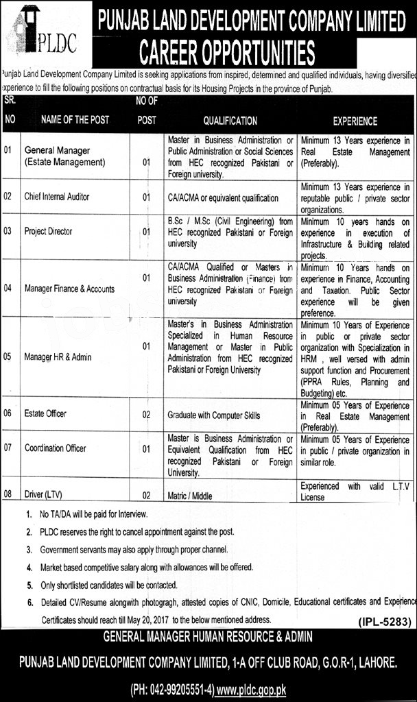 PLDC Jobs 2017 Punjab Land Development Company Job Application Form, Last Date