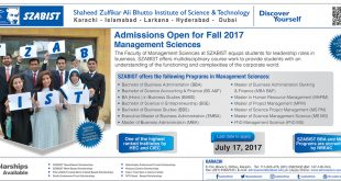 SZABIST Admissions Fall 2017 Online Form, Requirements, Last Date