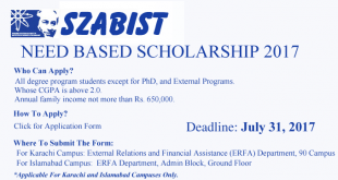 SZABIST Scholarships 2017 Need Based Apply Online, Last Date