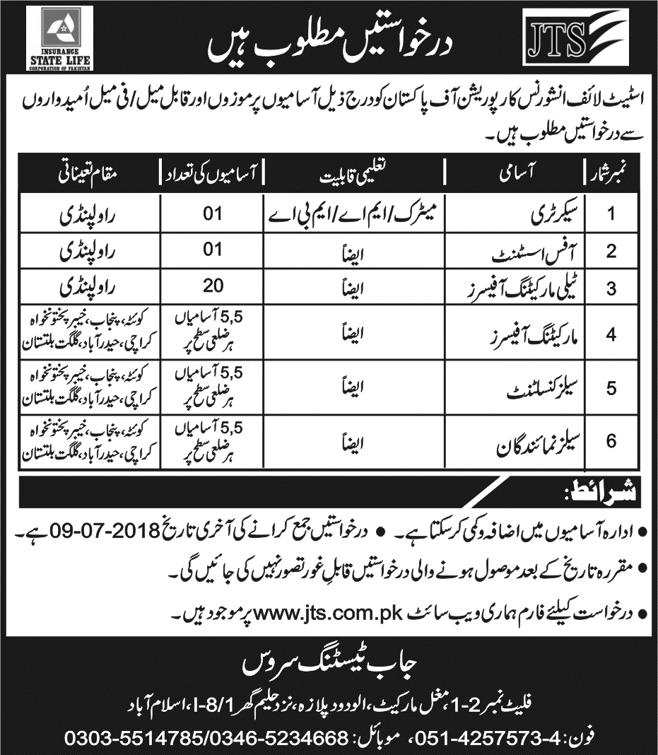 State Life Insurance Corporation Jobs 2018 JTS Form, Test & Last Date