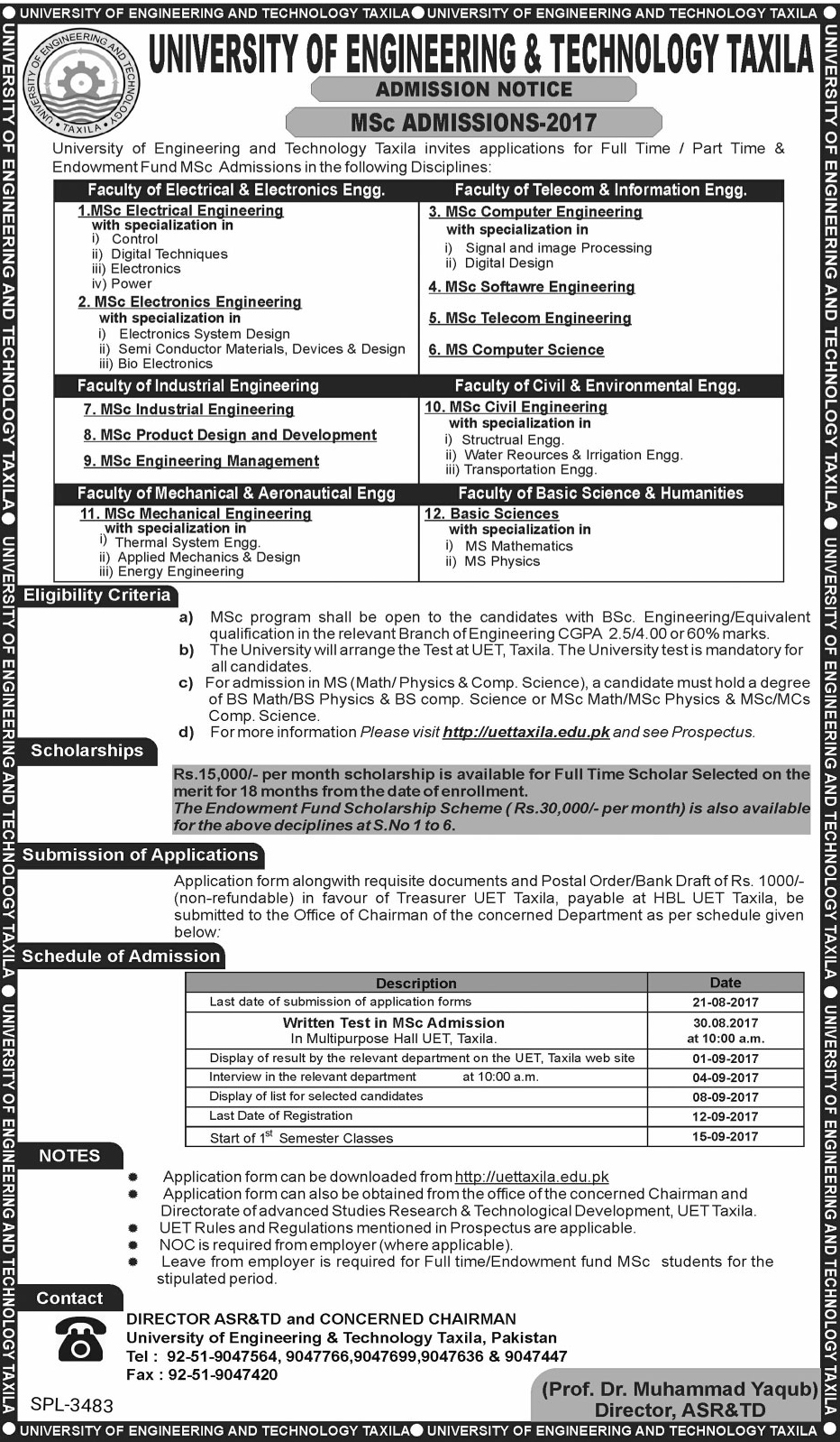 UET Taxila MSc Admissions 2017 Form Schedule, Entry Test Date