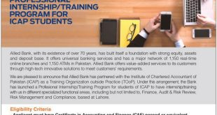 Allied Bank Internship Training Program 2018 For ICAP Apply Online, Last Date