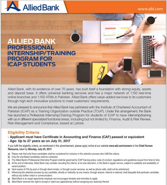 Allied Bank Internship Training Program 2017 For ICAP Apply Online, Last Date