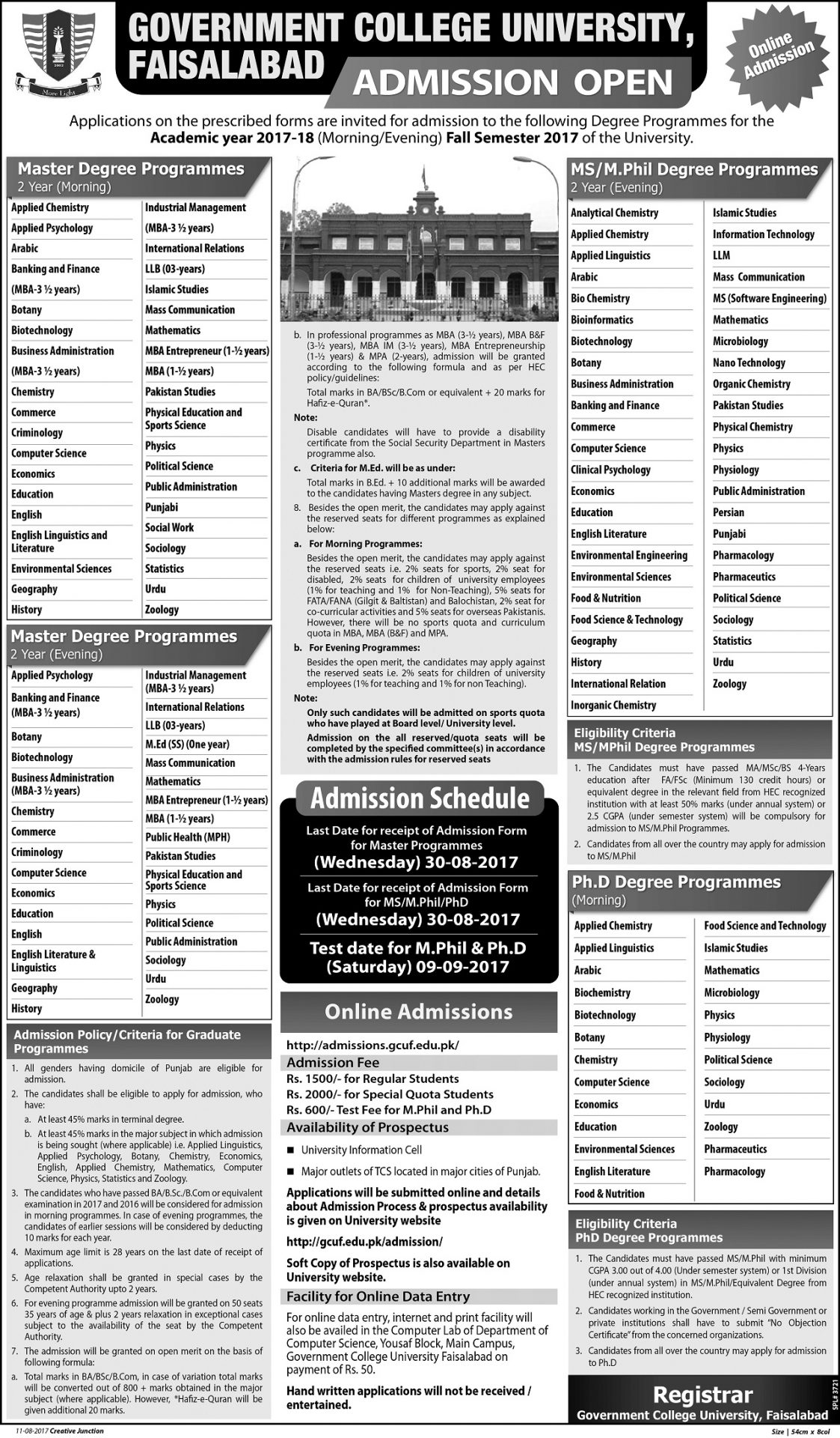 GCUF Admissions 2017 Fall Government College University Faisalabad Admission Form